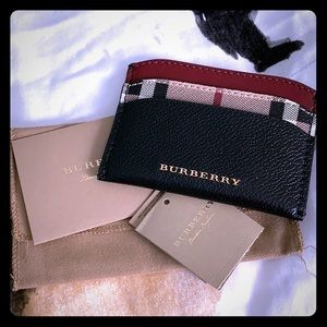 NWT Burberry Check Haymarket Card Holder